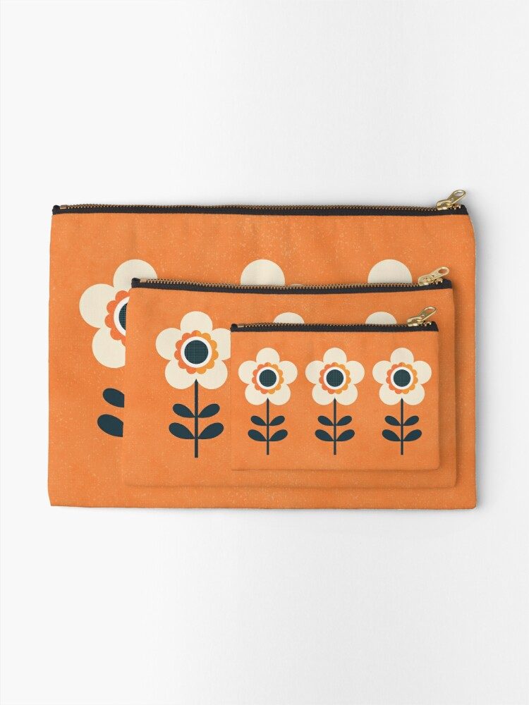 Alternate view of Retro Blossom - Orange and Cream Zipper Pouch