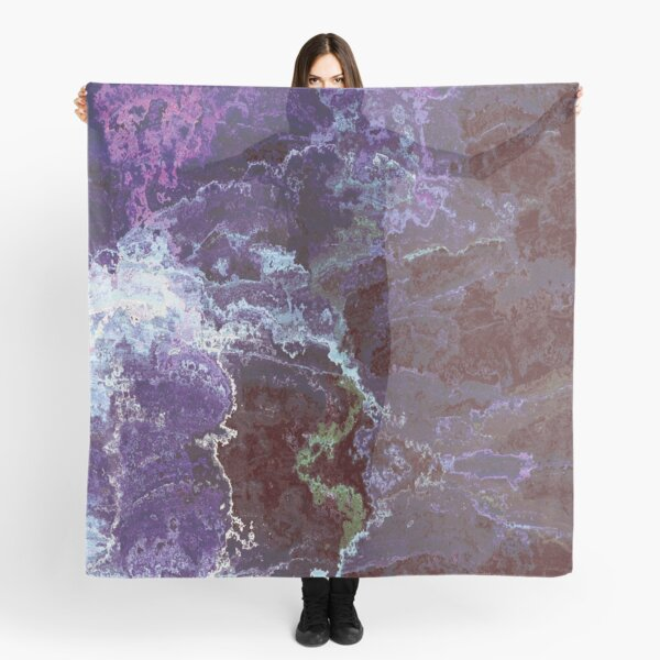"""Midnight Erosion"" Quartz Abstract Marble Scarf"