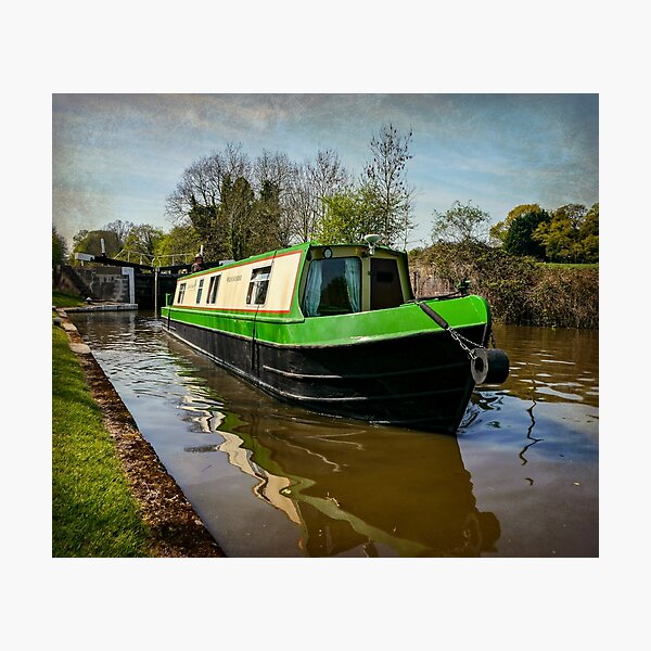 Canal boat exits lock Photographic Print