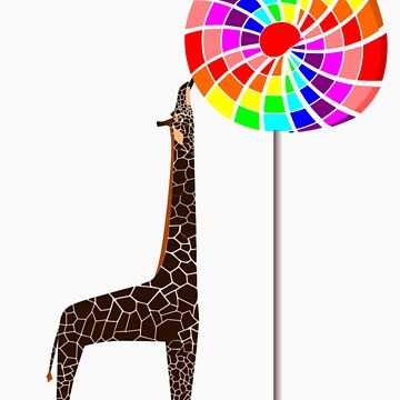 The Giraffe and the Lollipop Tree by fishcakefillet