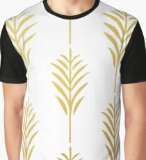 Goldene Palmblätter auf Weiß Grafik T-Shirt