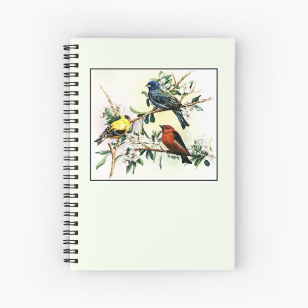 Songbirds - goldfinch, indigo bunting and scarlet tanager Spiral Notebook
