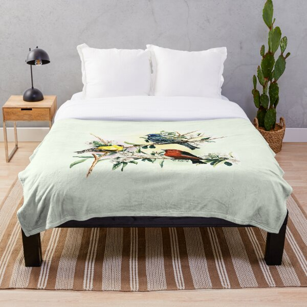 Songbirds - goldfinch, indigo bunting and scarlet tanager Throw Blanket