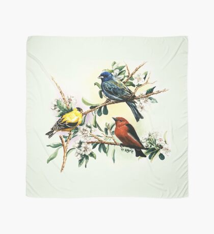 Songbirds - goldfinch, indigo bunting and scarlet tanager Scarf