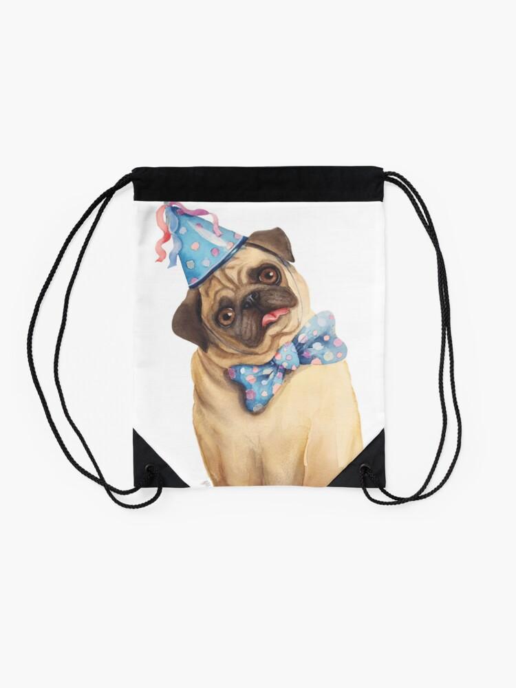 Alternate view of Derp Pug Drawstring Bag