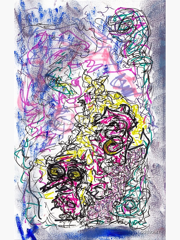 fizzy - mixed media abstract, ink and oil pastel by sdthoart