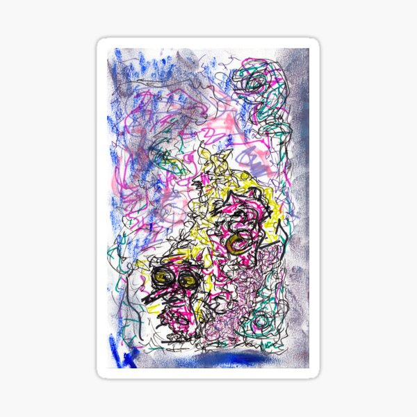 fizzy - mixed media abstract, ink and oil pastel Sticker