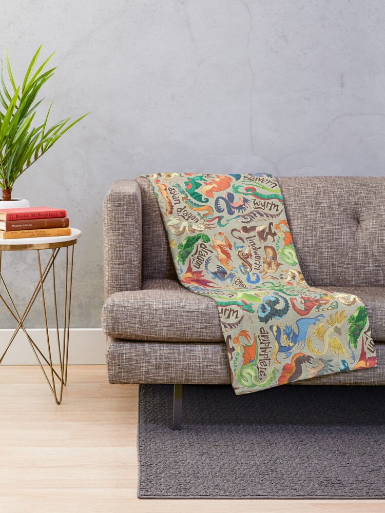 Alternate view of Mini dragon compendium  Throw Blanket