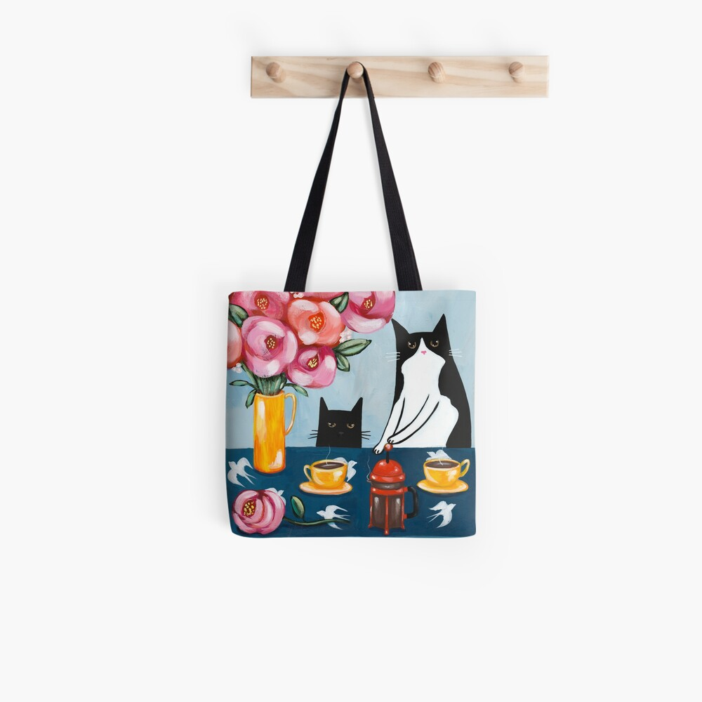 French Press Coffee Cats Tote Bag