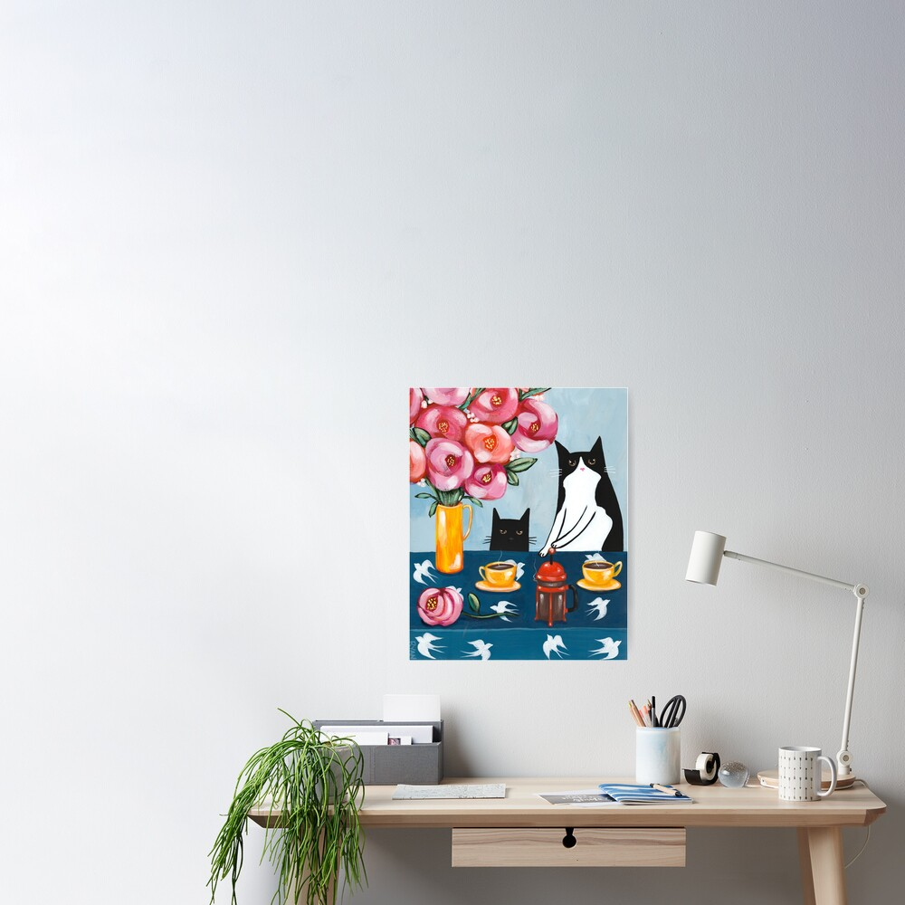 French Press Coffee Cats Poster