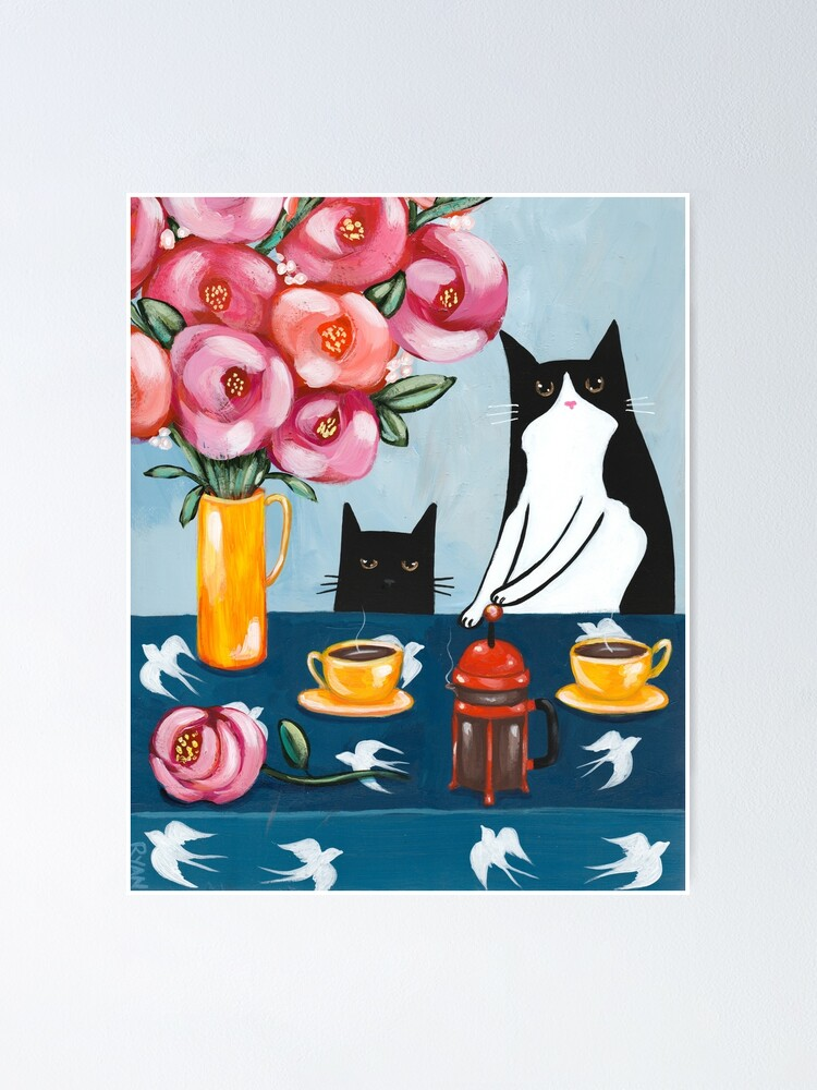 Alternate view of French Press Coffee Cats Poster