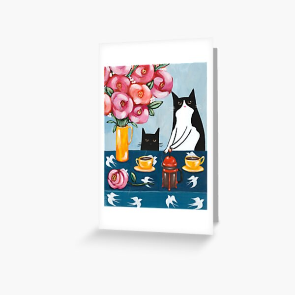 French Press Coffee Cats Greeting Card