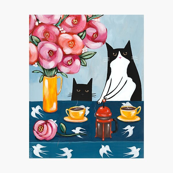 French Press Coffee Cats Photographic Print