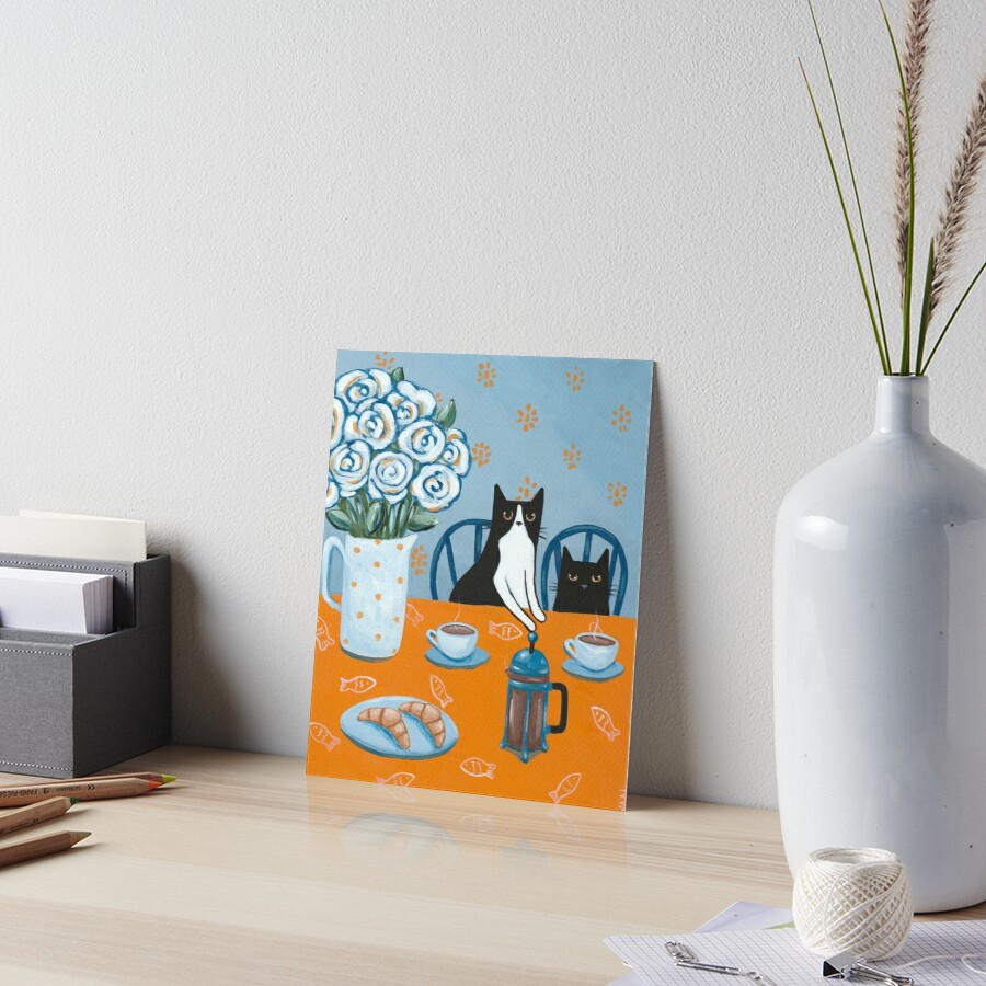 French Press Coffee Cats Art Board Print
