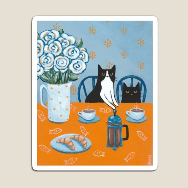 French Press Coffee Cats Magnet