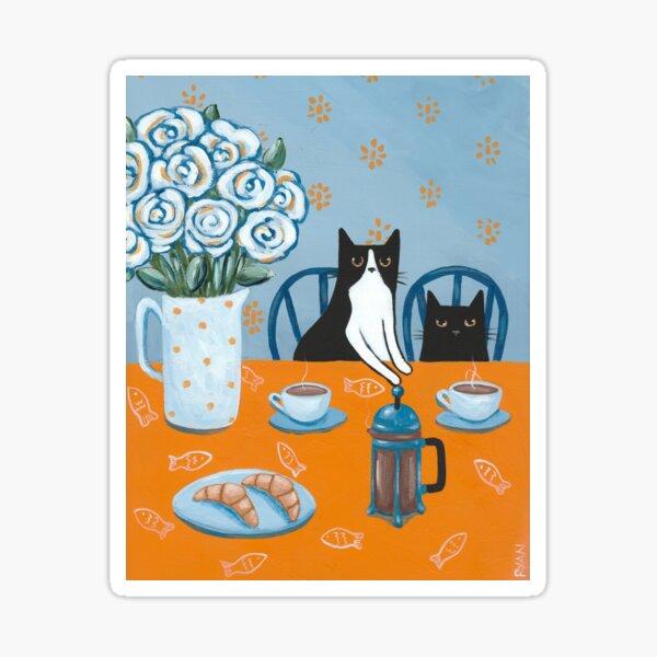 French Press Coffee Cats Sticker