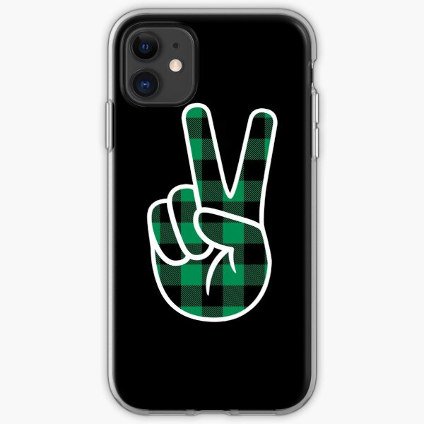 Peace - Kelly/Black Lumberjack iPhone Soft Case