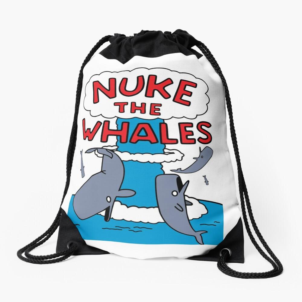 Nuke The Whales Drawstring Bag