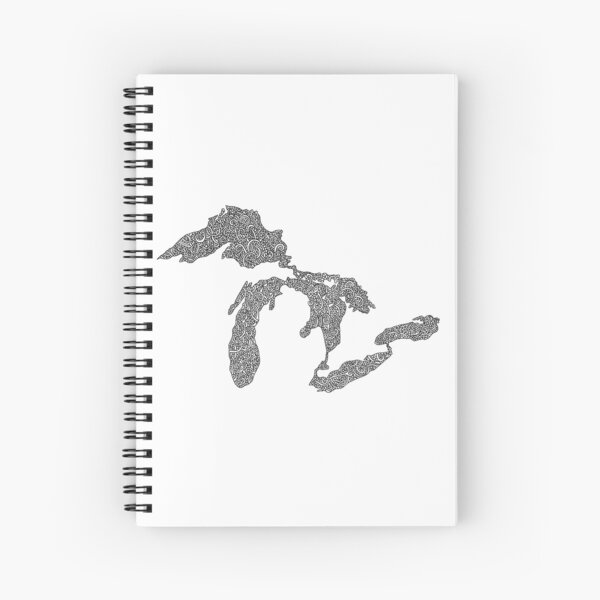 Great Lakes Map Design Spiral Notebook