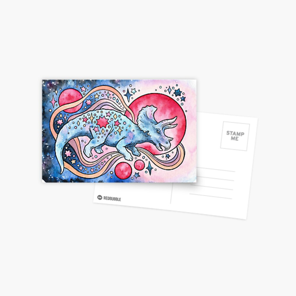 Star Tricera | Cosmic Dinosaur Watercolor Postcard