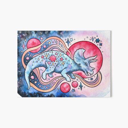 Star Tricera   Cosmic Dinosaur Watercolor Art Board Print