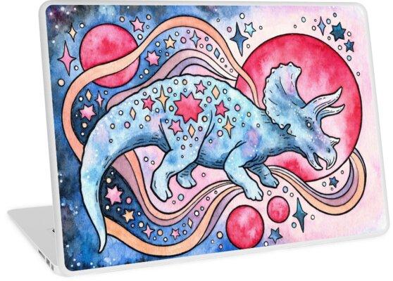 Star Tricera   Cosmic Dinosaur Watercolor by OMEGAFAUNA