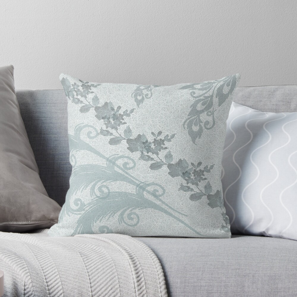 Mint Green Leaves Throw Pillow
