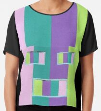 Rainrow Fro (Facemadics abstract face colorful contemporary) Chiffon Top