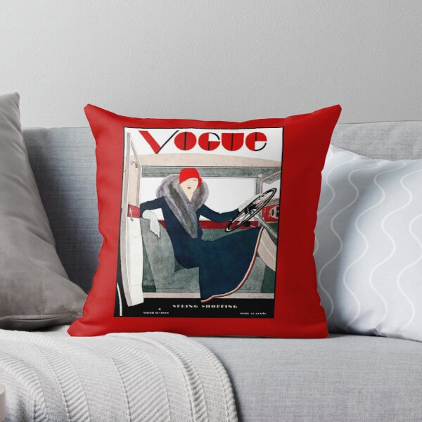 VOGUE : Vintage Spring 1929 Magazine Advertising Print Throw Pillow
