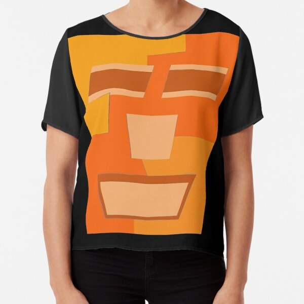 Orange Tripod (Facemadics abstract face colorful contemporary) Chiffon Top