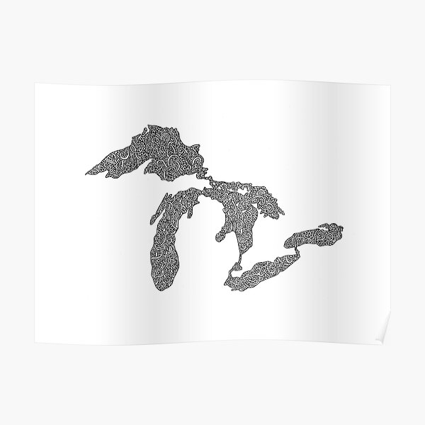 Great Lakes Map Design Poster