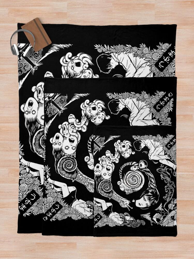 Alternate view of Spiral Into Horror - Uzumaki Throw Blanket