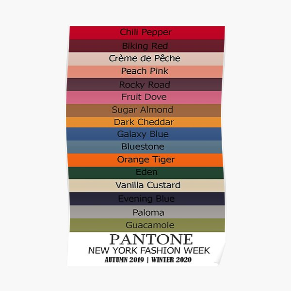 New York Fashion Week 2019 -2020 Autumn Winter with all the colors named Poster