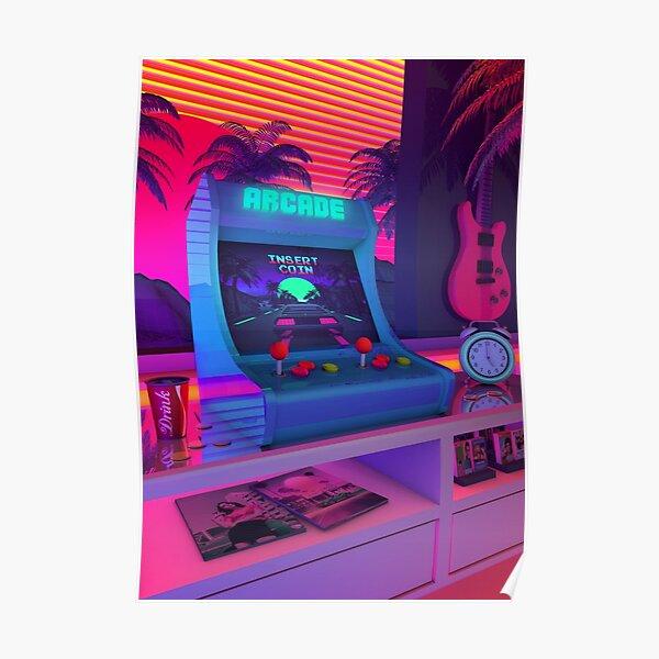 Un diseño retro inspirado en la escena musical synthwave. Synthwave expresa nostalgia de la cultura de los años 80/1990 (Películas Póster