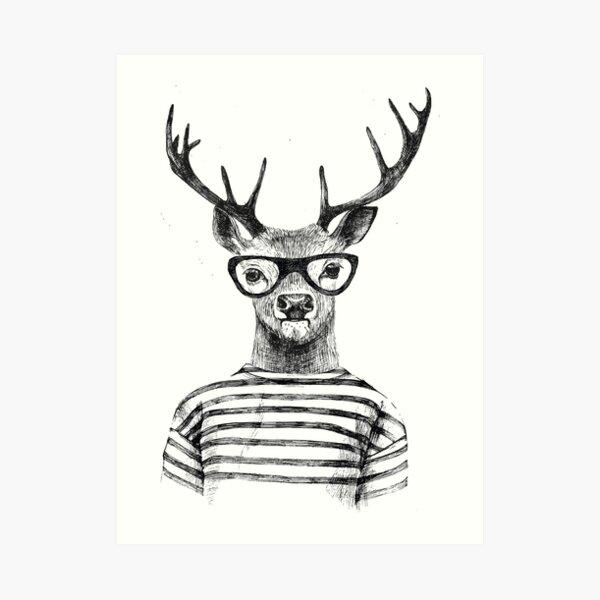 Deer human style Cute Deer with Glasses Art Print
