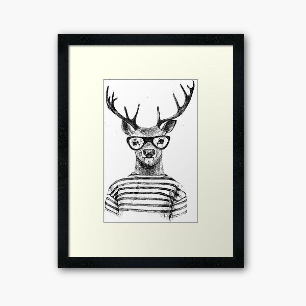 Deer human style Cute Deer with Glasses Framed Art Print