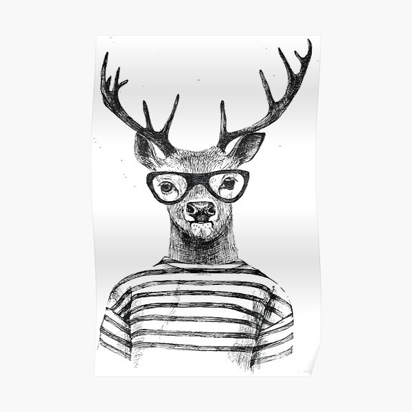 Deer human style Cute Deer with Glasses Poster