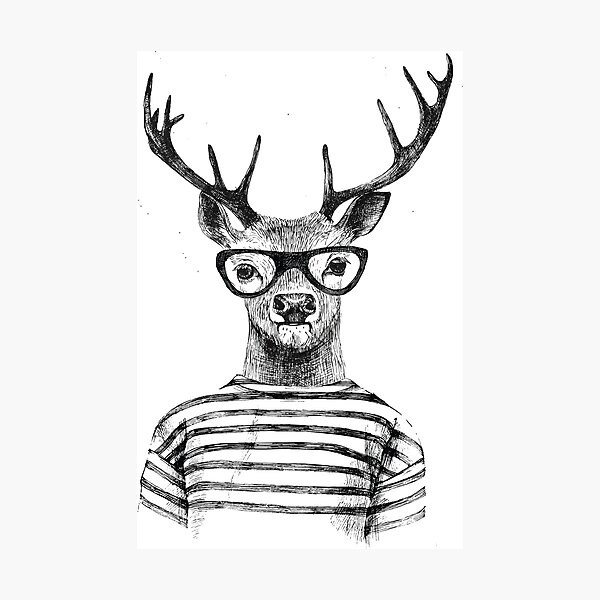 Deer human style Cute Deer with Glasses Photographic Print