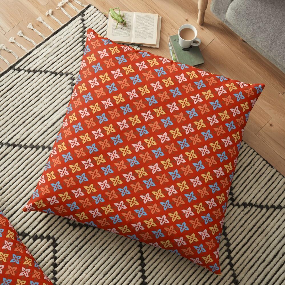 Las Flores - Red 01 (Patterns Please) Floor Pillow