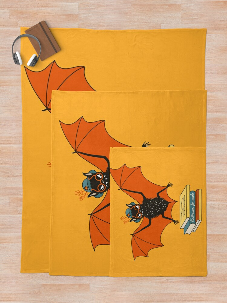 Alternate view of Bat granny in the library  Throw Blanket
