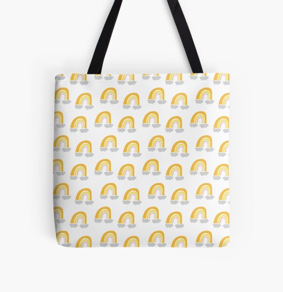 Yellow and orange pastel cute rainbow pattern All Over Print Tote Bag