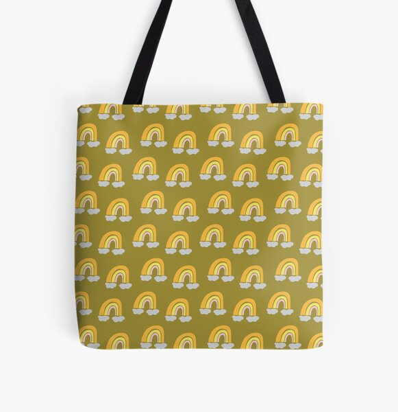 Pastel cute fun rainbow pattern mustard yellow background All Over Print Tote Bag