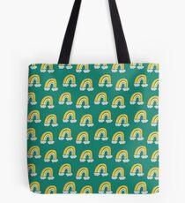 Pastel cute fun rainbow pattern blue green background Tote Bag