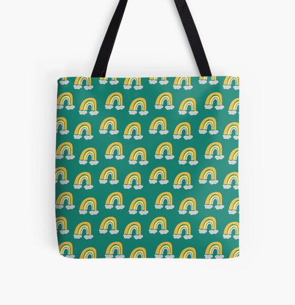 Pastel cute fun rainbow pattern blue green background All Over Print Tote Bag