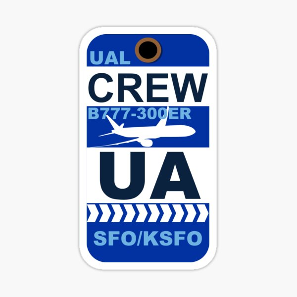 UA Boeing 777-300ER Crew San Francisco SFO Sticker