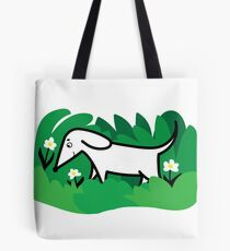 puppy dog in flower meadow illustration Tote Bag