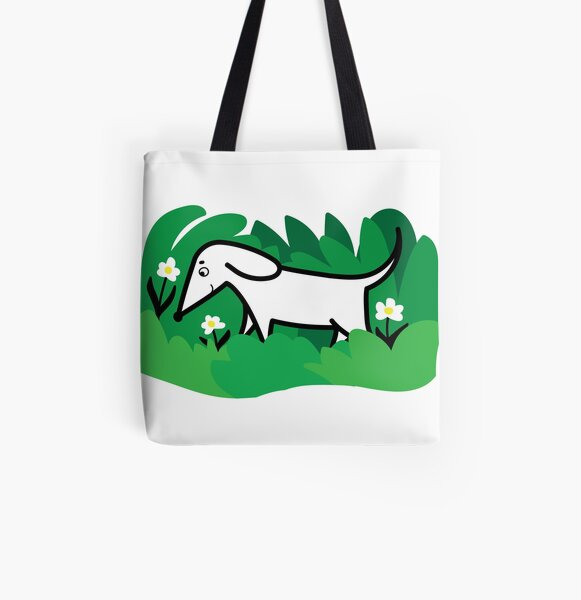 puppy dog in flower meadow illustration All Over Print Tote Bag