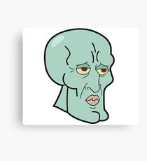 Handsome Squidward Large Canvas Print