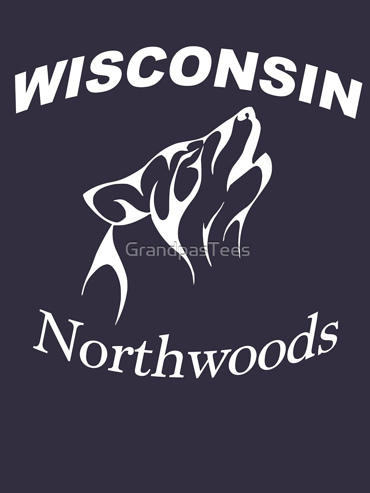 Wisconsin Northwoods Wolf Head Design by GrandpasTees