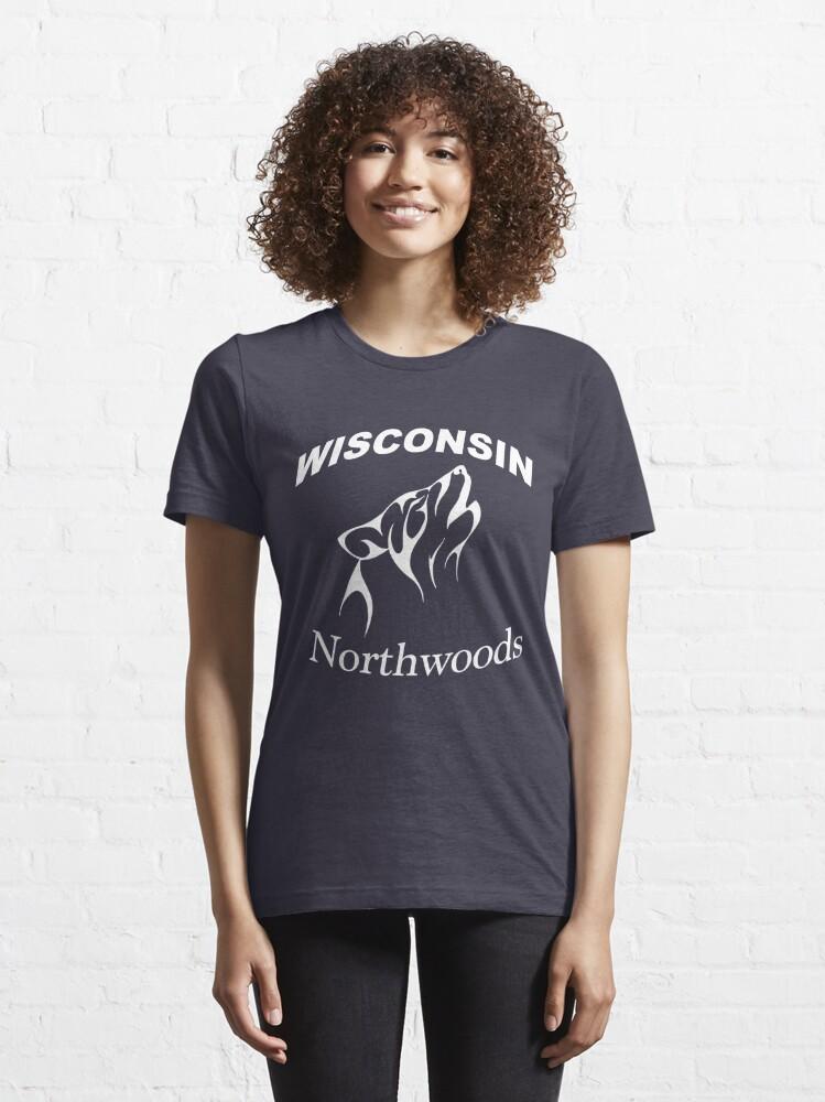 Alternate view of Wisconsin Northwoods Wolf Head Design Essential T-Shirt